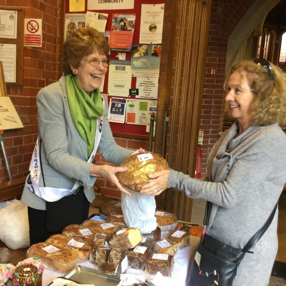 Maureen on the stall at Corpus Christi in Boscombe