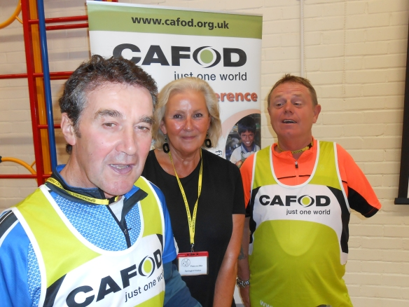 Isabella between Fred Uttley and Mark (from the Tour de Fred which visited Springhill school in Southampton)