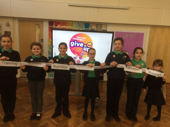 Pupils from St Amands forming a chain of support.