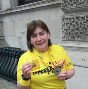 Alix finishes the London Half Marathon