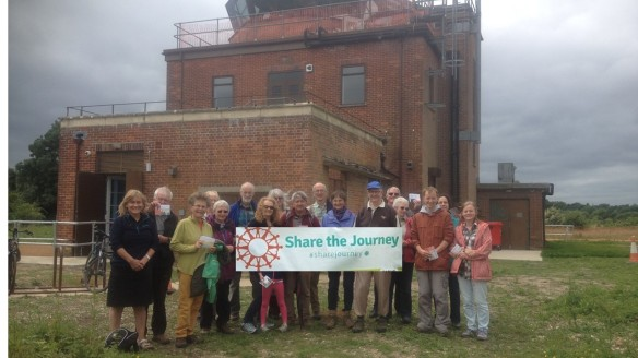 The walk starting from Greenham Common control tower .