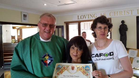 Fr Chris, Ginny and myself after the mass